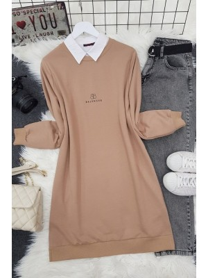 Crew Neck Slit Text Printed Combed Cotton Tunic -Mink color
