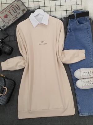 Crew Neck Slit Text Printed Combed Cotton Tunic   -Cream color