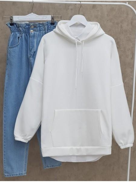 Hooded Kangaroo Pocket Sleeves Elastic Sweat -White