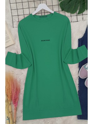 Slit Long Tunic  -Green