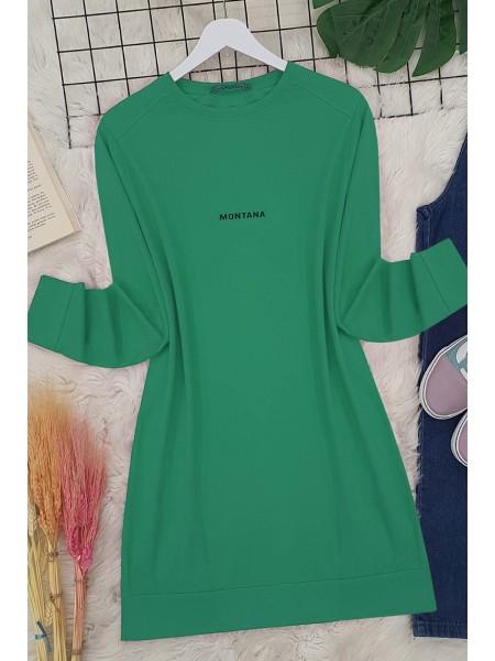 Yırtmaçlı Uzun Tunik  -Yeşil