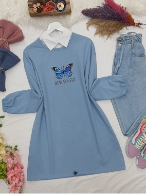 Elastic Skirt Sleeve Gathered Butterfly Sweat -Blue