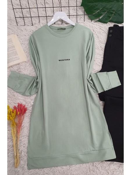 Yırtmaçlı Uzun Tunik     -Su Yeşili