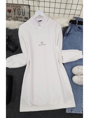 Crew Neck Slit Text Printed Combed Cotton Tunic -White