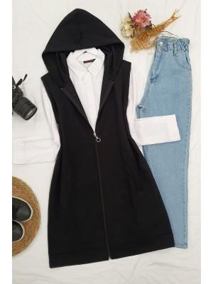 Hooded Zippered Combed Cotton Pocket Vest -Black