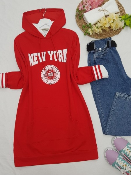 Hooded Pocketed New York Letter Combed Cotton Tunic  -Red