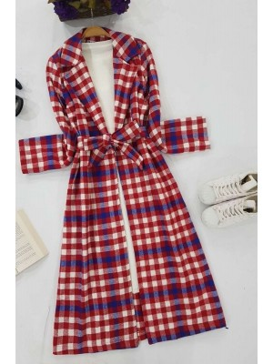 Long Coat With Belt -Red