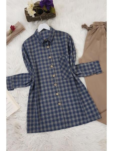 Striped Single Pocket Shirt -İndigo