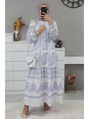 Tunnel Lace Long Dress -White