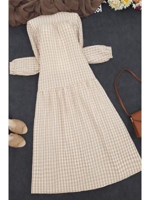 Gathered Loose Dress -Mink color
