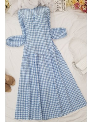 Gathered Loose Dress -Blue