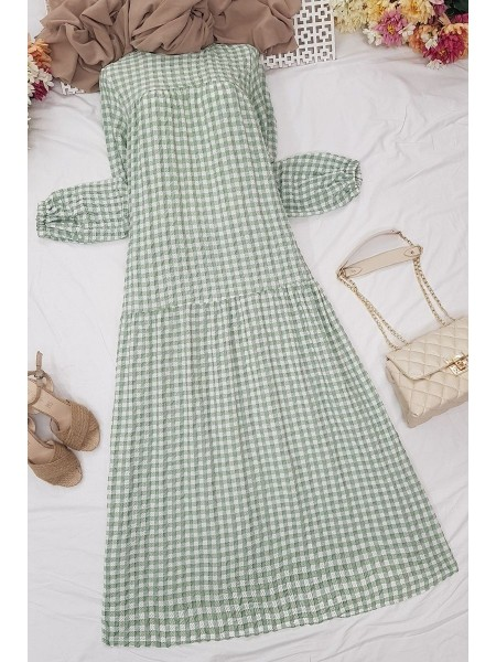 Gathered Loose Dress -Green