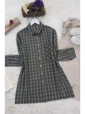 Striped Single Pocket Shirt -Khaki