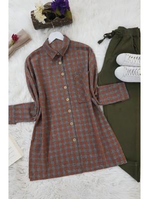Striped Single Pocket Shirt -Brick color