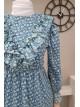 Volanlı şifon elbise -Blue