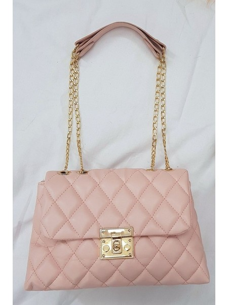Locked Quilted Women's Bag -Powder