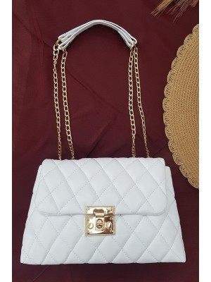 Locked Quilted Women's Bag -White