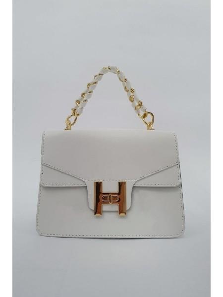 Chain Lock Women's Bag -White
