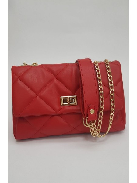 Quilted Women's Bag -Red