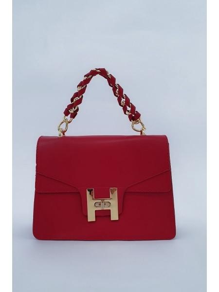 Chain Lock Women's Bag -Red