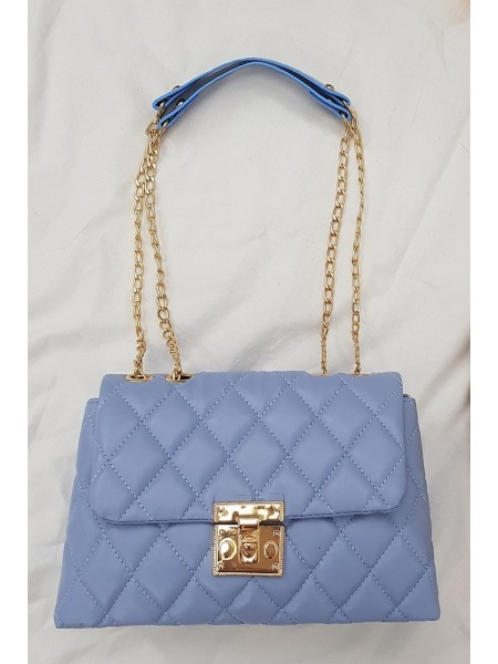 Locked Quilted Women's Bag -Blue