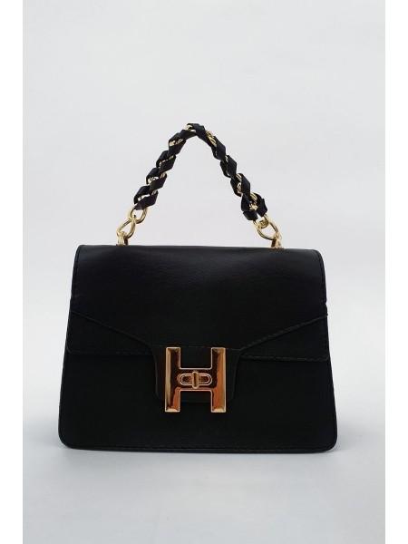 Chain Lock Women's Bag -Black