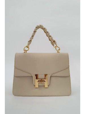 Chain Lock Women's Bag - Beige