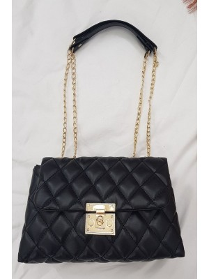 Locked Quilted Women's Bag -Black