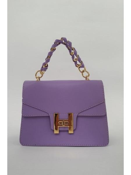 Chain Lock Women's Bag -Lilac