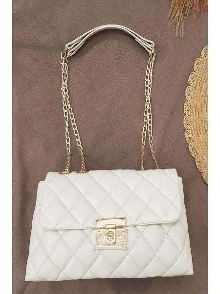 Locked Quilted Women's Bag -Stone