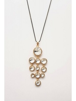 Round Stone Necklace -Gold