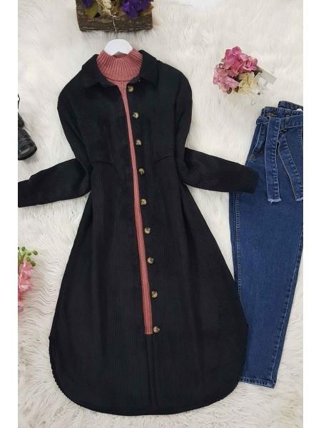 Double Pocket Velvet Tunic -Black