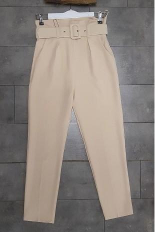 Kemerli Kumaş Pantolon  -Taş