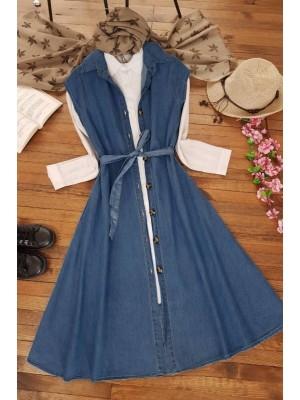 Sleeveless Jeans Gilet Dress -İndigo