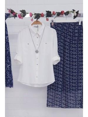 Elastic Waist Chiffon Skirt  -Navy blue