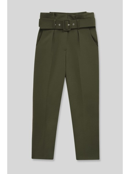 Belted Fabric Trousers  -Khaki