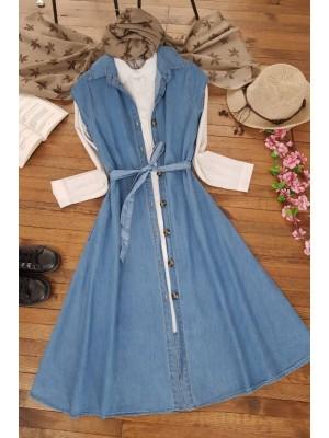Sleeveless Jeans Gilet Dress  -Blue