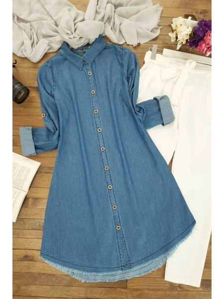 Wooden Button Tasseled Jeans Tunic-Blue