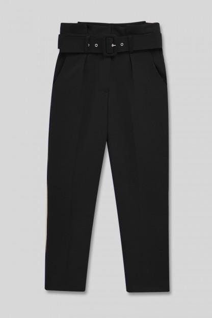 Kemerli Kumaş Pantolon -Siyah
