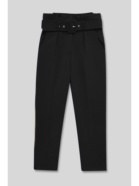 Belted Fabric Trousers -Black