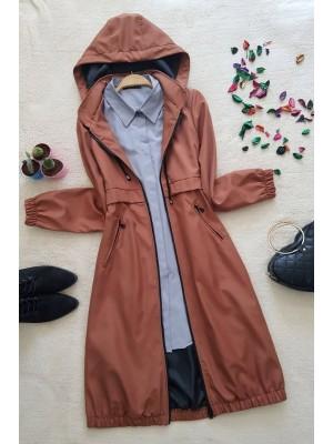 Lined Coat  -Brick color