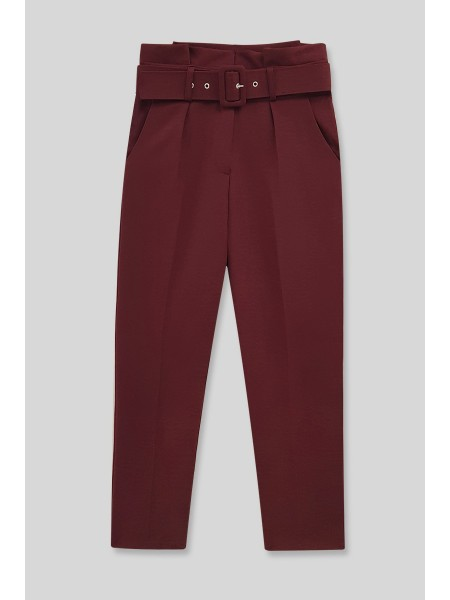 Belted Fabric Trousers  -Maroon