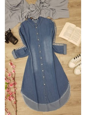 Striped Sleeve Denim Tunic -Dark blue
