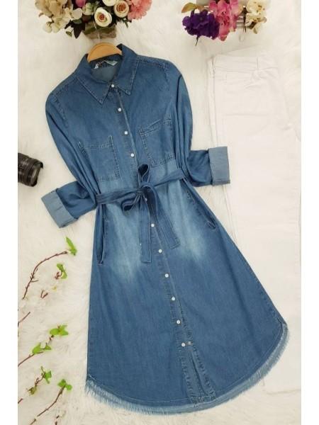 Arched Jean Tunic  -Dark blue