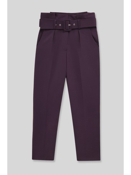 Belted Fabric Trousers  -Damson