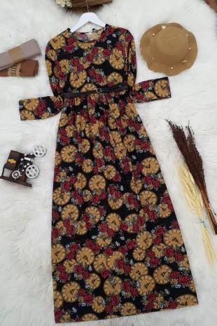 Belden Sıkmalı Kemerli Elbise   -Hardal
