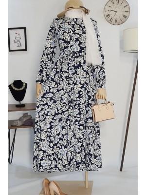 Beli Bağcıklı Elbise -Navy blue