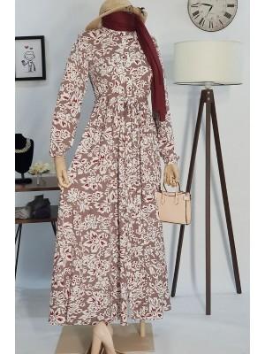 Beli Bağcıklı Elbise -Dried rose