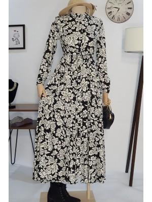 Beli Bağcıklı Elbise -Black