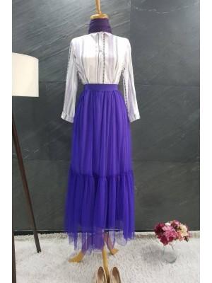Lined Tulle Skirt   - Purple